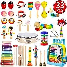 اسباب بازی های موسیقی AOKIWO Toddler، 28Ps 19Types ابزارهای چوبی سازهای ضربه ای مخصوص کودکان ، کودکان و نوجوانان ، اسباب بازی های موسیقی آموزش موسیقی در دوران پیش دبستانی مجموعه ای برای اسباب بازی های پسرانه دختران با کوله پشتی