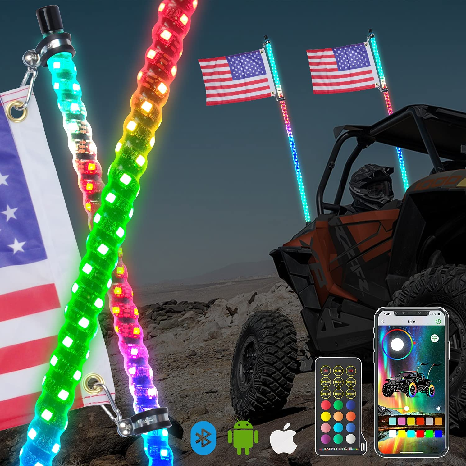 Indianapolis Mall OHMU 2Pcs 5ft LED Whip Lights with Remot OFFicial mail order Pole Flag Bluetooth and