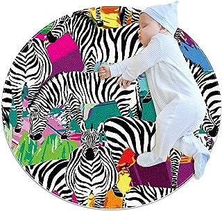 Soft Round Area Rug 100x100cm/39.4x39.4IN Anti-Slip Floor Circle Mats Absorbent Memory Sponge Standing Mat,Zebra