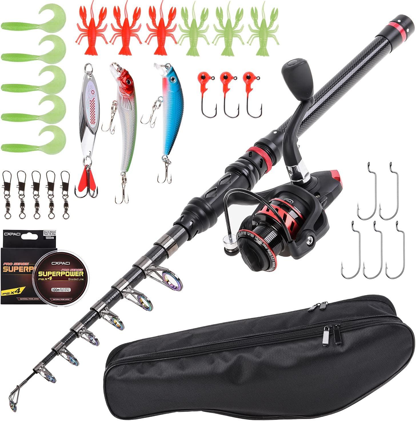 Outstanding Lixada Fishing Rod and Reel Combo Carbon Telescopic Fiber Fishin Superior