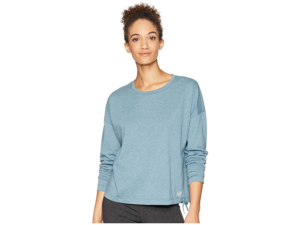 New Balance Heather Tech Long Sleeve Top (Light Petrol Heather/White) Women