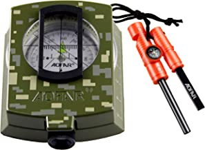 AOFAR Military Compass and Fire Starter AF-4580/381 Lensatic Sighting, Survival Kit,Waterproof and Shakeproof Measure Dist...