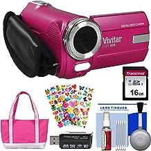 Vivitar DVR-508 HD Digital Video Camera Camcorder (Pink) with 16GB Card + Bag + Stickers + Kit