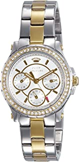 Juicy Couture Women's Silver Dial Stainless Steel Band Watch - 1901107, Analog Display, Quartz Movement