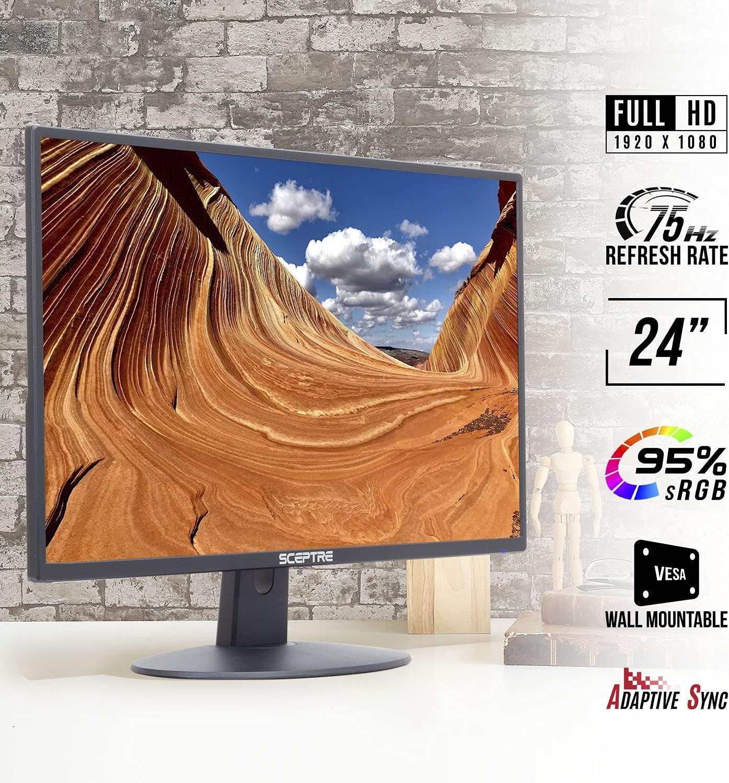 Sceptre E248W-19203R 24 Ultra Thin 75Hz 1080p LED Monitor 2x HDMI VGA Build-in Speakers, Metallic Black 2018