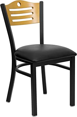 Flash Furniture HERCULES Series Black Slat Back Metal Restaurant Chair - Natural Wood Back, Black Vinyl Seat