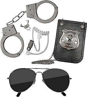 لوازم جانبی کارآگاه کودکان Skeleteen - تجهیزات ویژه جاسوسی مامور ویژه برای لباس های کارآگاهی با عینک آفتابی ، گوشواره ، نشان و دستبند