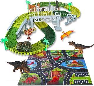 VCOSTORE Auto da Corsa con Dinosauri 181 Pezzi di binari per Treni Flessibili con Dinosauro per Bambini dai 3 Anni in su