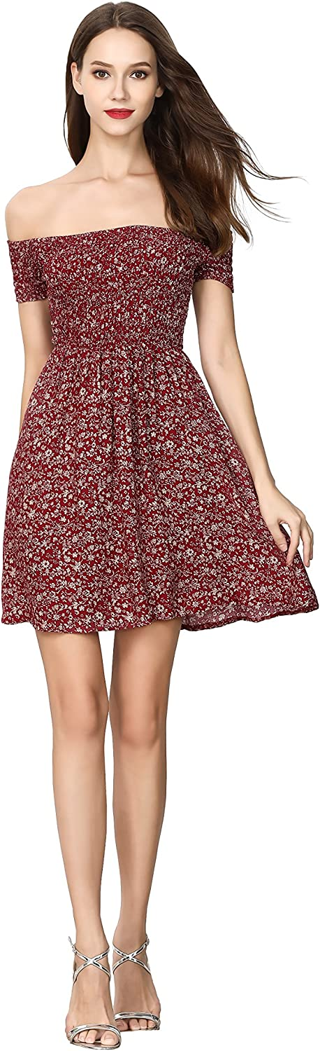 Xiazuo Women's Off The Shoulder Elastic Casual Dress Floral Swing Dress
