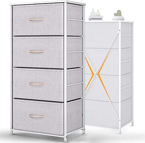 ODK Dresser with 4 Drawers Tall Fabric Storage Tower Organizer Unit for Bedroom Chest for Hallway Closet Easy Assembly Steel Frame and Wood Top, Light Grey