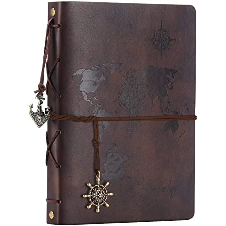 """DIY Leather Scrapbook Photo Album Adhesive Handmade Leather Memory Book 60 pages /""""Navigation Compass/"""" for Graduation Anniversary Birthday Wedding Travel Pictures"""