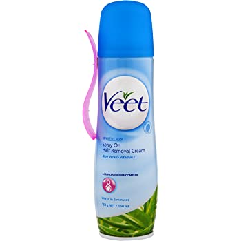 Veet Crema Depilatoria spray para Piel Delicada - 150 ml: Amazon ...