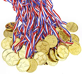 Caydo 100 Pieces Kids Children's Gold Plastic Winner Award Medals