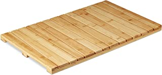 Relaxdays, Natuurkleuren bamboemat, voor badkamer, stopper, hygiënisch, vochtbestendig, deurmat 40x65 cm, standaard