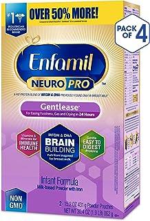 Enfamil 美贊臣 NeuroPro溫和型嬰兒配方奶粉 - 24小時內減少煩躁、脹氣和哭鬧 - 奶粉補充裝, 每盒30.4盎司(862g),4盒裝