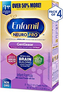 Enfamil NeuroPro Gentlease Baby Formula Gentle Milk Powder Refill, 30.4 ounce (Pack of 4) - MFGM, Omega 3 DHA, Probiotics, Iron & Immune Support