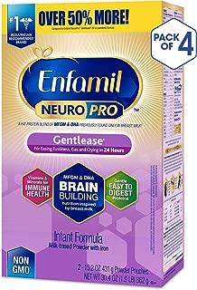 Enfamil 美赞臣 NeuroPro温和型婴儿配方奶粉 - 24小时内减少烦躁、胀气和哭闹 - 奶粉补充装, 每盒30.4盎司(862g),4盒装