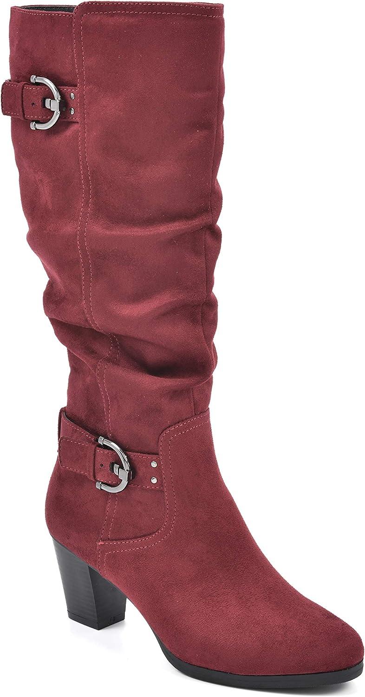 Rialto Women's Farewell Merlot/Suedette Size 8.5 Knee High Boot