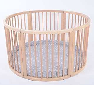 MJmark Wooden ROUND PLAYPEN ATLAS UNO GREY STARS from SALE SALE VERY LARGE