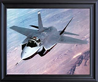 Aviation Military Poster - X-35 Joint Strike Aircraft Jet Fighter Wall Decor BLack Framed Picture Art Print (19x23)