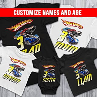 Family Personalize Hot Wheels Birthday T-Shirts