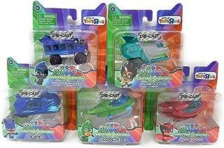 PJ Masks Complete Set of 5 Exclusive Diecast Vehicles with Romeo & Night Ninja