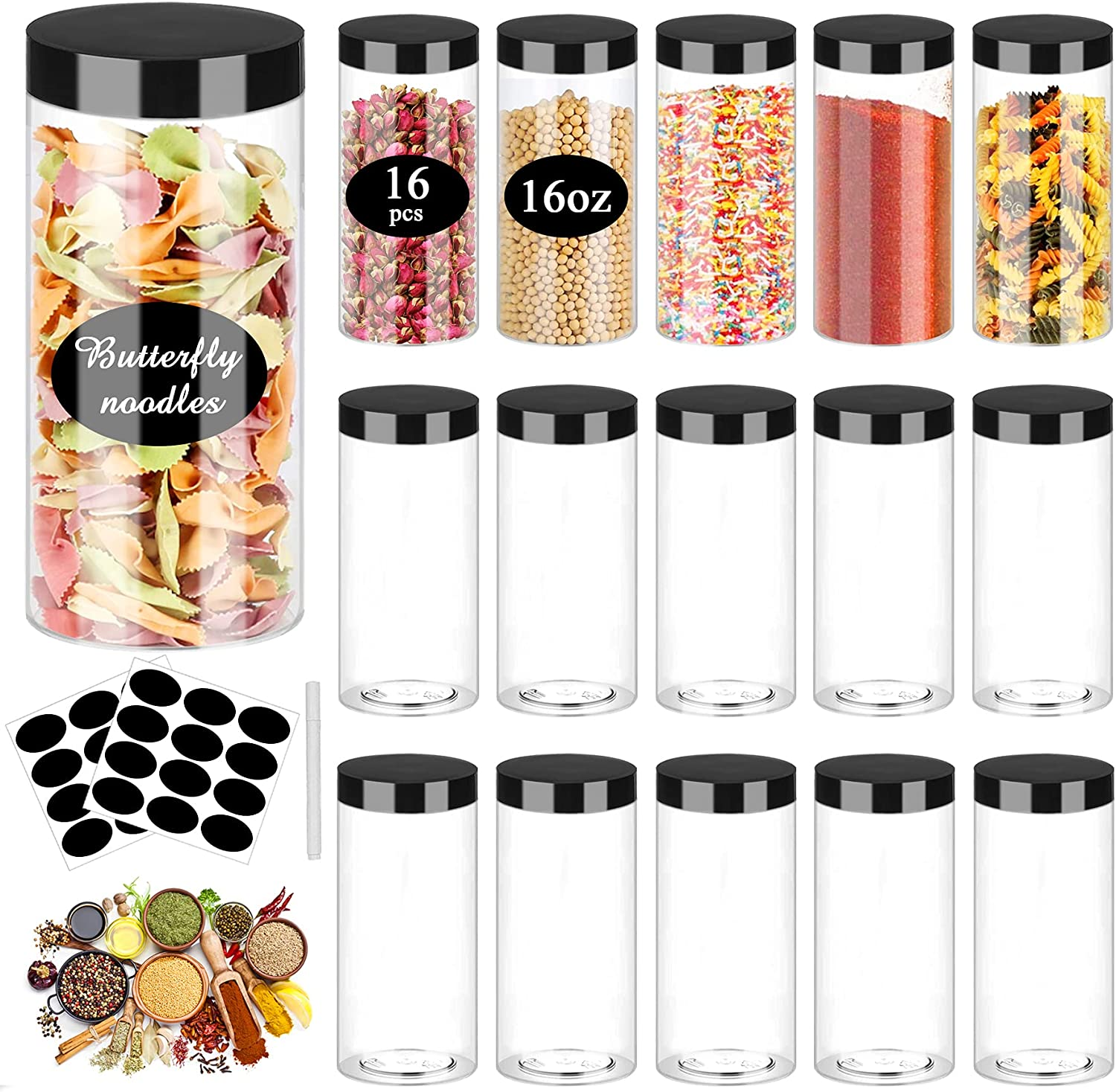 Plastic Jar with Lids 16oz Clear Empty Containers 16Pcs Straight Cylinders Storage Jars with Airtight Black LidStackable Refillable Round Plastic Jars for Kitchen Food & Home Storage