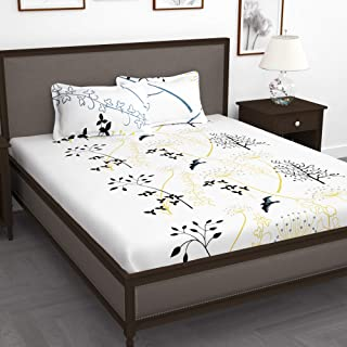 Story @ Home Forever 240 TC Cotton Double Bedsheet with 2 Pillow Covers - White