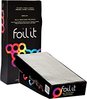 Framar 5x12 Star Struck Silver Embossed Pre Cut Aluminum Foil Sheets, Hair Foils For Highlighting - 500 Foil Sheets