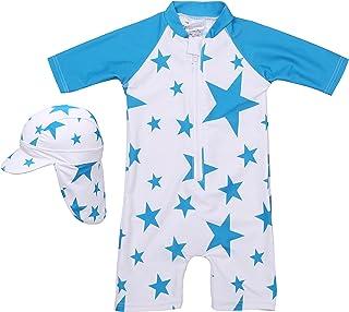 【Babystity】 水着 赤ちゃん 男の子 子供 ベビー 星柄 UPF50+ 日よけ帽子付き