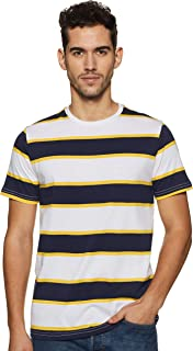 Amazon Brand - House & Shields Men's Striped Regular Fit Half Sleeve Cotton T-Shirt
