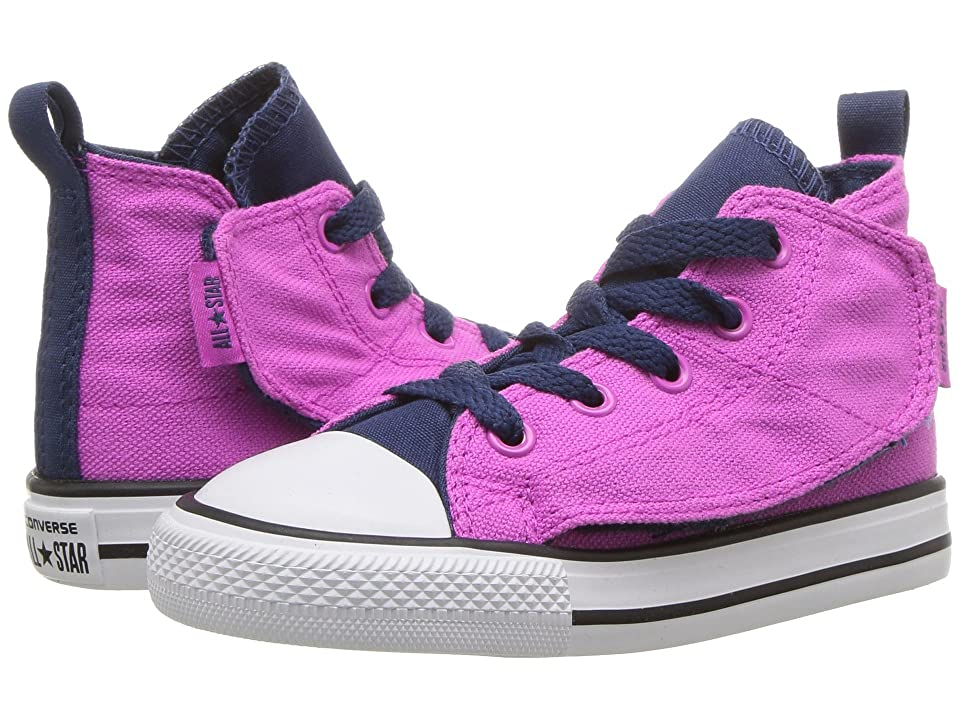 Converse Kids Chuck Taylor All Star Simple Step Hi (Infant/Toddler) (Hyper Magenta/Navy/White) Girls Shoes