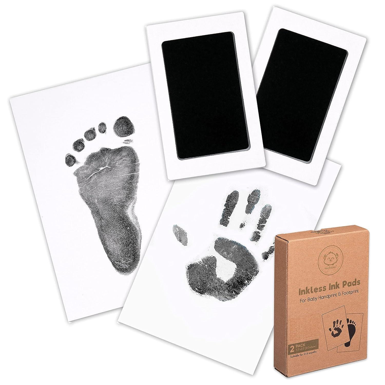 Baby Footprint & Handprint Inkless Ink Pad - 2-Pack Clean Touch Hand and Foot Print Keepsake Ink Pads - Paw Stamp Print - Babys Footprint Kit - Newborn Baby Stamp Pad Kits (Jet Black)