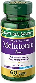 Melatonin by Nature's Bounty, 100% Drug Free Quick Release and Extended Release Sleep Aid, Dietary Supplement, Promotes Re...
