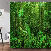 Green Forest Cortina de ducha para baño, selva tropical, selva tropical, paisaje de árboles naturales, plantas exóticas, c...