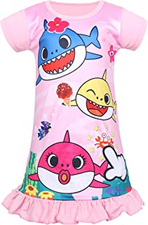 Coralup Baby Toddler Girls Shark Nightgown Princess Casual Dresses(18M-6Y)