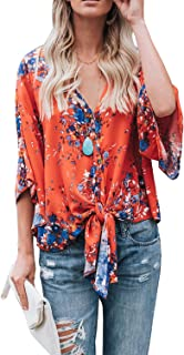 Womens Floral Blouses Summer Short Bat Sleeve Tie Front Tops Loose Fitting Shirts