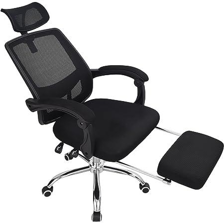 FUNCER オフィスチェア メッシュ ブラック バージョンアップ版 リクライニング 可動式枕付 収納式足置付 ハイバック