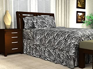 Sweet Dreams Silky Satin Sheet Set - Full - Black Zebra Print, Wrinkle Free and Stain Resistant Super Soft Luxury Satin Bed Sheets and Pillowcase Set with Extra Deep Pockets