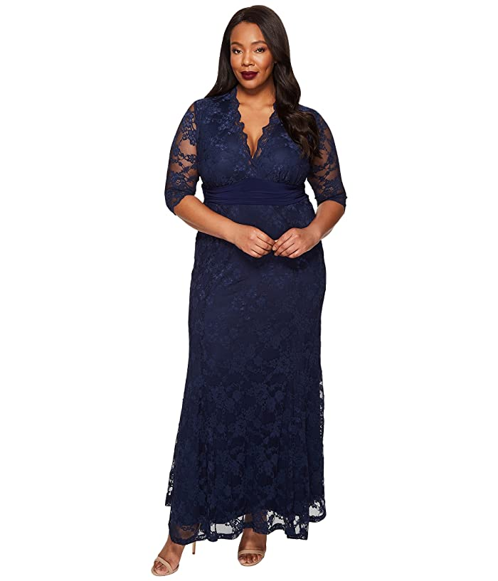 Kiyonna Screen Siren Lace Gown (Nocturnal Navy) Women's Dress