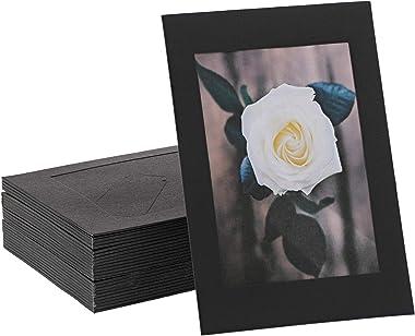 Marco de fotos de cartón con caballete de papel Kraft (negro, 10,1 x 15,2 cm, 50 unidades)