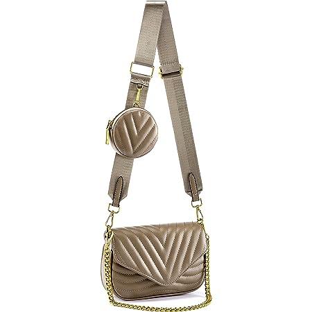 CHIC DIARY Damen Multi Tasche PU Schultertasche Kleine Umhängetasche Handtasche mit Münzetasche Crossbody Bag mit 2 Schultergurte