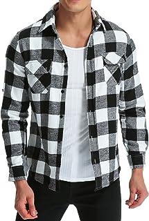 MODCHOK Men' Flannel Plaid Shirt Long Sleeve Check T Shirt Button Down Outwear Regular Fit Tops