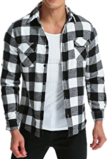 Men's Casual Plaid Flannel Shirt Long Sleeve Outwear Slim Fit Button-Down Check Tops