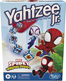 Hasbro Gaming Yahtzee Jr. Marvel Spidey and His Amazing Friends Edition Board Game for Kids Ages 4 and Up, Counting and Ma...