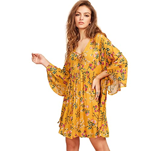 2a133becfd892 Milumia Women's Floral Print Front Cross Deep V-Neck Flare Sleeve Loose  Short Mini Dress