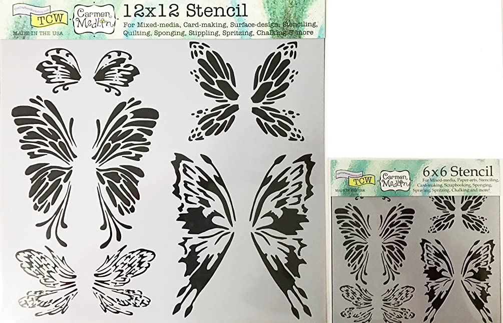 The Crafter's Workshop Set of 2 Stencils –Fairy Wings 12x12 Large and 6x6 inch Mini - Includes 1 each TCW668 and TCW668s - Bundle 2 Items