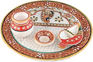 The Hue Cottage 'Handcrafted Decorative Pooja Thali Platter' with Ganesha Design, Diya and Kalash, by Meenakri and Kundan Work, forHindu Temple Rituals, Accessory -9 x 9 Inches