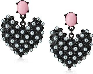 Betsey Johnson Faux Pearl Heart Drop Earrings