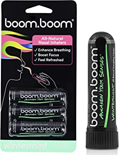 BoomBoom Aromatherapy Nasal Inhaler (3 Pack) Boosts Focus + Enhances Breathing | Provides Fresh Cooling Sensation | Made with Essential Oils + Menthol (Wintermint)